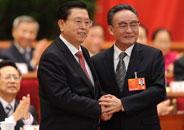 吳邦國與張德江握手