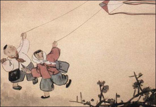 童年回忆素材荡秋千简笔画
