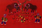 牛童戲蛇  苗族刺繡