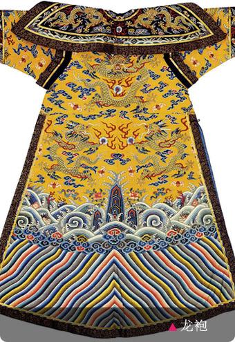 明黃色盤金繡小龍袍