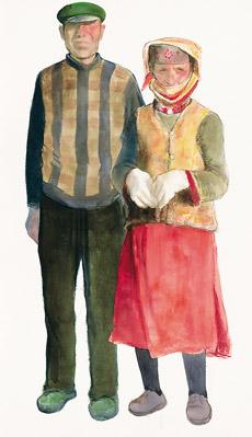 瓦恰鄉的塔吉克夫婦(水彩畫) 陳堅