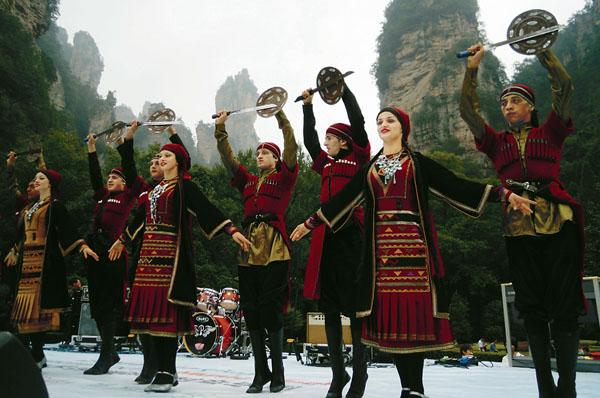 在老磨湾演出的格鲁吉亚民族歌舞