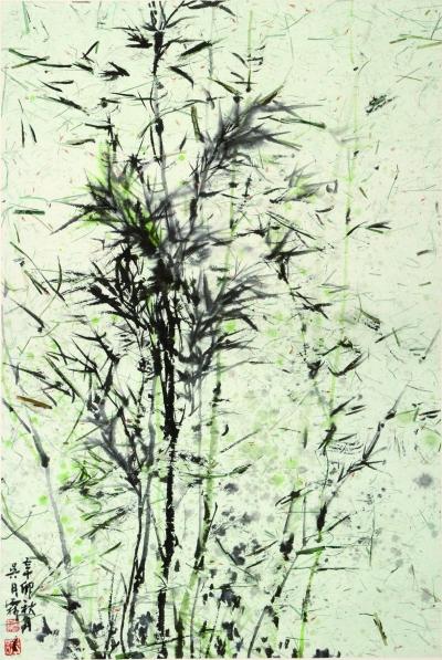 苏东坡画竹,从上到下一笔画成,表示君子生而有节;倪瓒对竹的形似更取