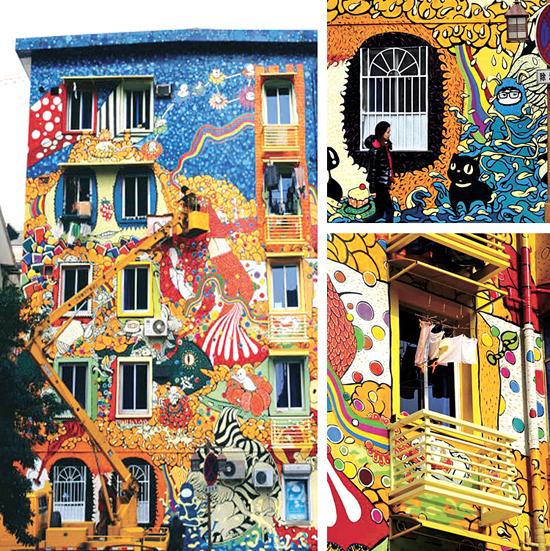 """城市墙面""""涂鸦""""艺术源于图片"""