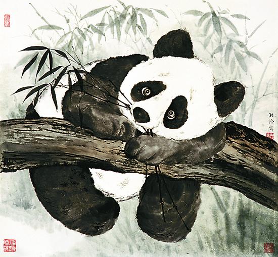 写意画熊猫步骤