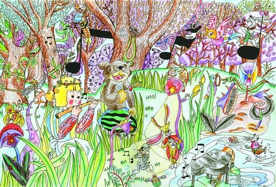 森林简笔画彩色儿童画