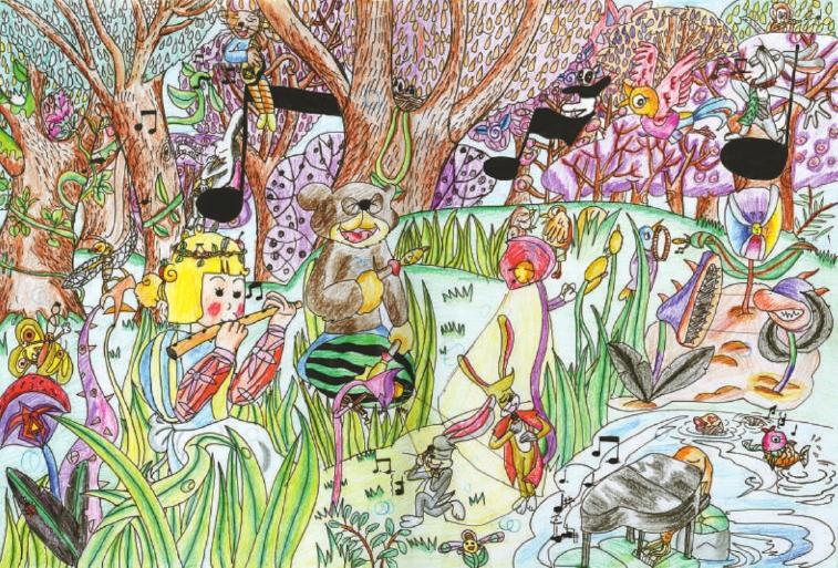 森林 动物 梦境 墙绘