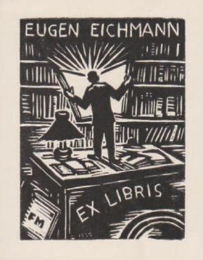 比利时木刻名家麦穗莱勒藏书票.年代:1959年