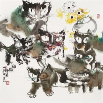 美术京剧猫简笔画