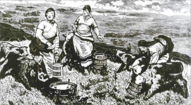 牧场(版画) 李焕民   国立北平艺专的人生洗礼   1930年,是中国历史上多事之秋的一年,军阀混战愈演愈烈,最终酿成中原大战;在上海,中国左翼作家联盟成立; 12月,蒋介石对中央根据地开始进行第一次军事围剿 。也就是这一年,李焕民在北京出生了,他原名何国儒。 1937年日本侵略者占领北平,父亲失业、母亲去世、哥哥送人,我和妹妹在祖母抚养下,过着极度贫困和屈辱的亡国奴生活。日本投降以后,在国民党独裁统治下,官场腐败、物价飞涨、民不聊生,我感到人生迷茫。 李焕民说。   幸运的是,在北师大开办的
