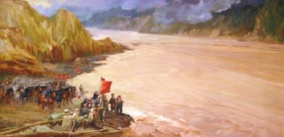 绘画抗战_东渡黄河(油画)1959年艾中信