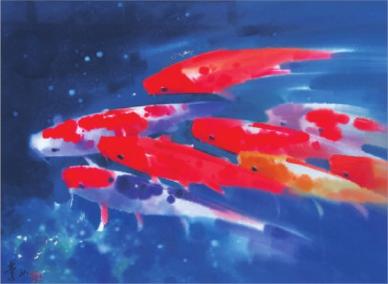 锦鲤(水彩) 55cm×75cm