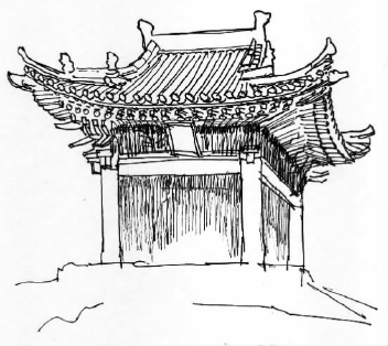 歇山顶大式建筑 罗哲文 手绘